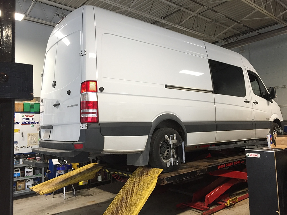 Tall garage allowing repairs of panel vans and trucks